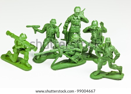 The isolated image of the plastic toy soldiers