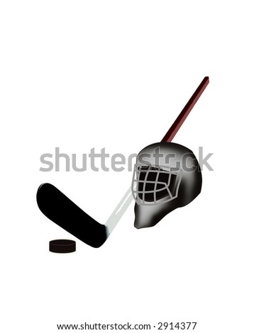 The isolated picture of hockey attributes on a white background: a stick, a helmet, a washer