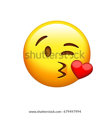 The isolated yellow smiley face with kissing mouth icon