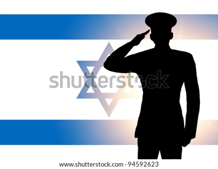 The Israeli flag and the silhouette of a soldier's military salute