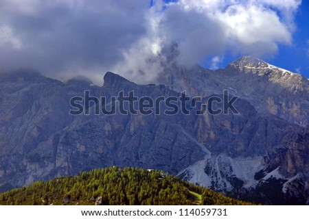 The Italian Alps near to the resort town of Cortina d' Ampezzo.
