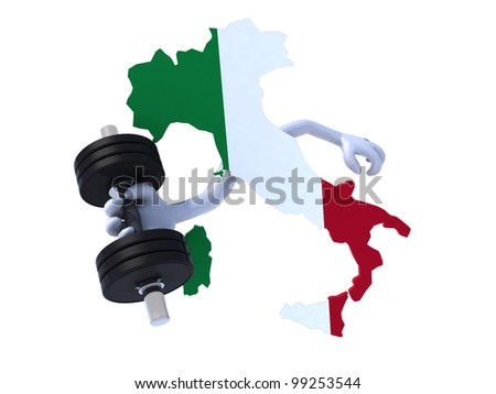 the italian map which makes weight training, 3d illustration on white background - stock photo