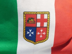 The Italian Navy Flag depicting the emblems of the four Maritime Republics