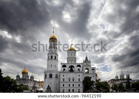 The Ivan the Great bell tower, the Archangel's cathedral, Kremlin, Moscow, Russia