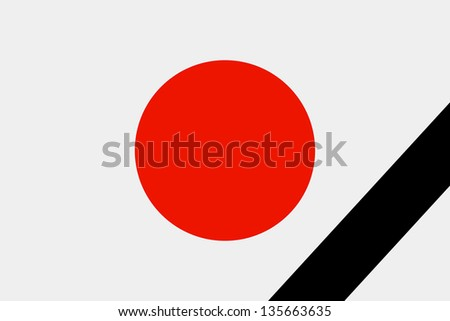 The Japan flag in mourning style. Illustration