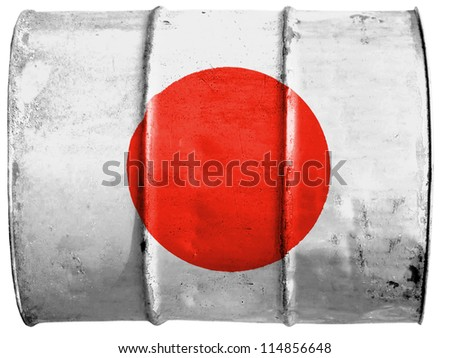 The Japan flag painted on  oil barrel