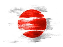 The Japan flag painted on  white paper with watercolor