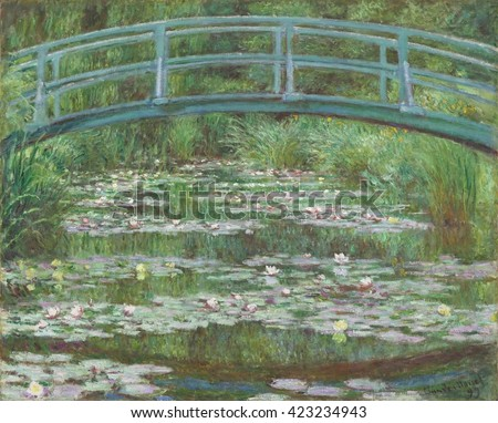 The Japanese Footbridge, by Claude Monet, 1899, French impressionist painting, oil on canvas. Floating lily pads and mirrored reflections assume equal importance, merging the solid objects and moment