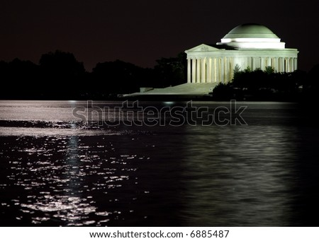 The Jefferson Memorial at night in the moon light - stock photo
