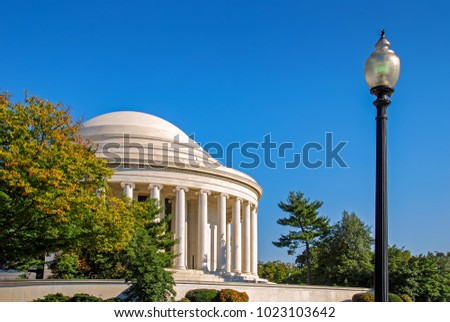 the jefferson memorial with...