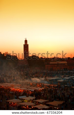 The Jema el Fna Square in Marrakesh, Morocco
