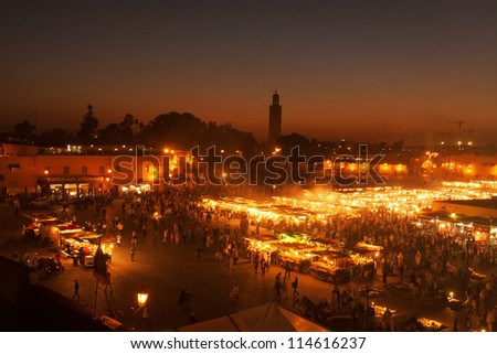 The Jemma el Fna square in Marrakesh, Morocco