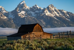 The John Moulton Barn at sunrise in Grand Teton National Park Wyoming at Morman Row