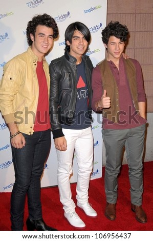 The Jonas Brothers  at the Launch party for 77kids clothing line by American Eagle. The Roxy, Los Angles, CA. 11-14-08