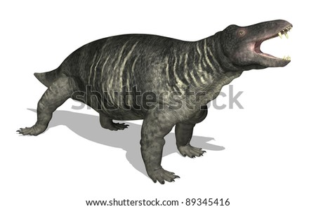 The Jonkeria is a therapsid (mammal-like reptile) that lived 270 million years ago in southern Africa, during the Middle Permian period - 3d render.