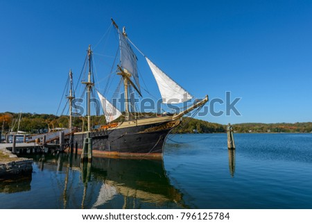 The Joseph Conrad at Mystic Seaport, Mystic CT Full-Rigged Ship  Built in Copenhagen in 1882 #796125784