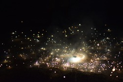 the joy of celebrating the durgapuja is incomplete without firecrackers.,