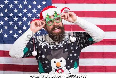 The joy of continuous celebration. Bearded man celebrate Christmas and new year. Happy hipster in patriotic mood. American celebration. Holiday celebration. Independence day celebration. July 4.