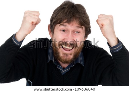 The joyful bearded man with hands fisted.Isolated on white background