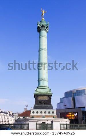 """The """"July Column"""" monument in the Place de la Bastille square in Paris #1374940925"""