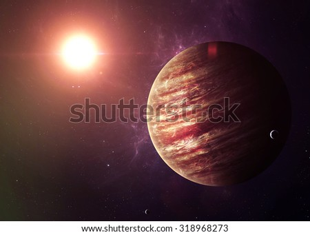 The Jupiter shot from space showing all they beauty. Extremely detailed image, including elements furnished by NASA. Other orientations and planets available.