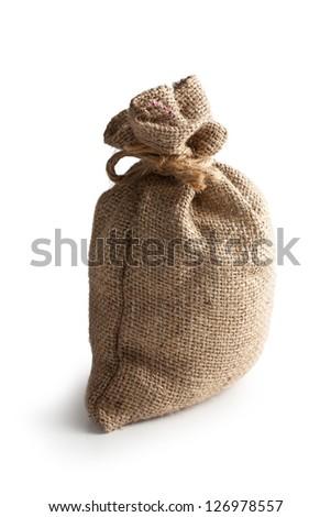 the jute sack on white background