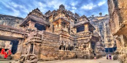 The Kailasa temple, cave 16 in Ellora complex. A UNESCO world heritage site in Maharashtra, India