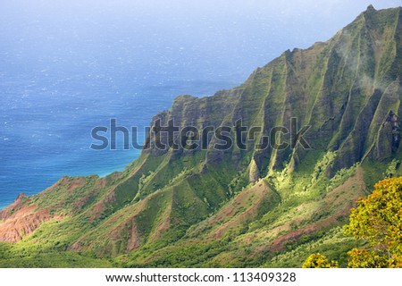 The Kalalau Valley on the Na Pali coast on the Hawaiian island of Kauai.