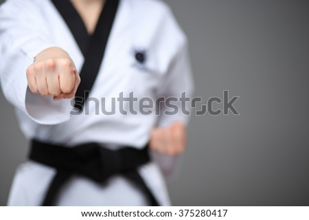 The karate girl with black belt  Foto stock ©