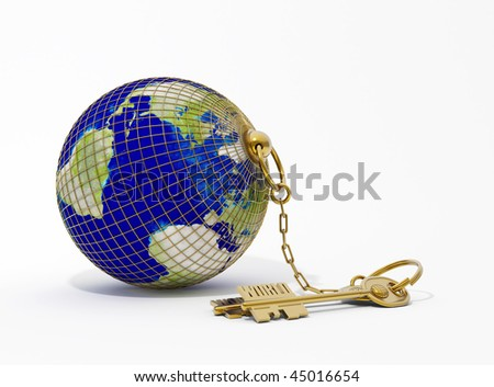 the key chain with Earth