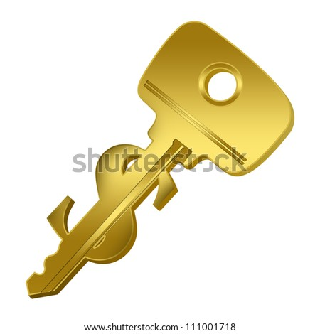 The Key Concept, Key to Money Present With Golden Key With Dollar Sign Isolated on White Background