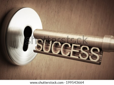 The key of success close to open the door.
