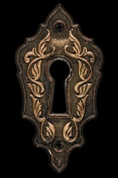 The keyhole, decorative design element, isolated on black background