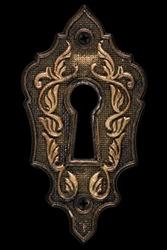 The keyhole, decorative design element, isolated on black background