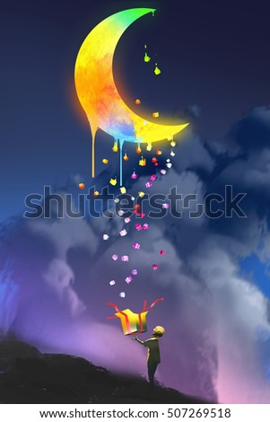 the kid opening a fantasy box and looking up a magic gift,colorful melting moon,illustration painting