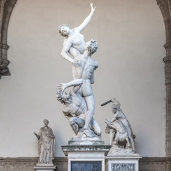 The Kidnapping of the Sabine Women by Giambologna, in the Loggia dei Lanzi in Florence, Italy
