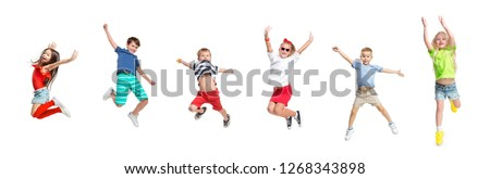 The kids dance school, ballet, hiphop, street, funky and modern dancers on white studio background. Girls and boys is showing aerobic and dance element. Teen in hip hop style. Collage #1268343898