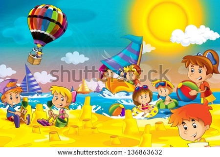 The kids playing at the beach diving building in sand ocean sea illustration for the children