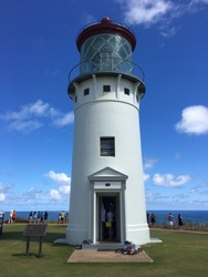 The Kilauea Lighthouse, located on Kilauea Point on Kauai, Hawaii.
