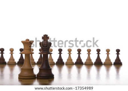 the king and queen piece of a chess table ready for it's move (selective focus)