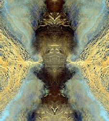 the king of the jungle, Tribute to Dalí, abstract symmetrical vertical photograph of the deserts of Africa from the air, aerial view, abstract expressionism, mirror effect, symmetry, kaleidoscopic