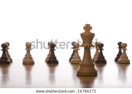 the king piece of a chess table ready for it's move (selective focus)