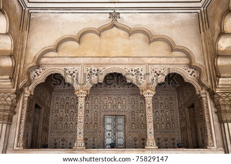 The King's seat at Diwan-i-Am, or Hall of Public Audience, in the World Heritage site Agra Fort, India.