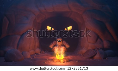 The knight is heated by the fire, behind him in the dark cave the big yellow eyes of a dragon. Frightened knight with wide eyes, shield and sword are far away from him on the stone. 3D rendering.