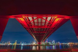 The Kobe Oohashi, the Great red steel bridge at night