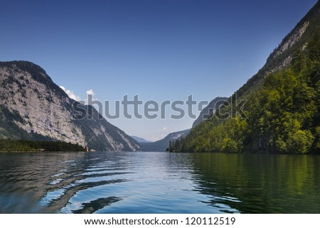 The Koenigssee near Berchtesgaden, Bavaria, on a sunny day in summer