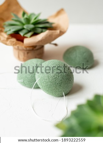 The Konjac Sponge, Loofah, natural body scrubber, eco-friendly green sponge, copy space Foto stock ©