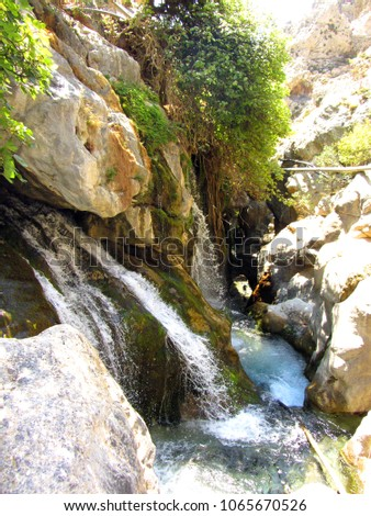 The Kourtaliotiko Gorge (or Asomatos Gorge) - gorge on the southern side of the western part of the island of Crete. Greece. #1065670526