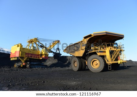 the kovshovy excavator, the dump heavy-load truck, the truck