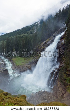 the krimmel waterfalls in austria (salzburg). europe's largest waterfalls - stock photo